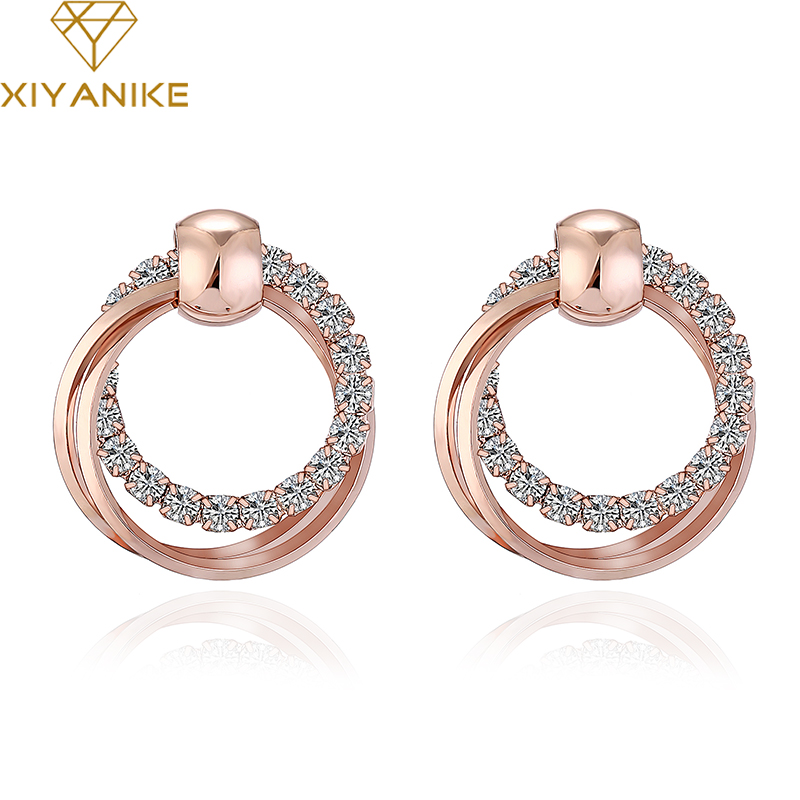 XIYANIKE New Fashion Exquisite Double Round Rhinestone Stud Earrings Rose Gold Color Earrings For Women/Girls Jewelry E395