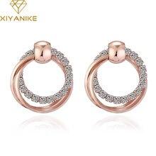 Новые модные изысканные серьги гвоздики xiyanike с двойной круглой