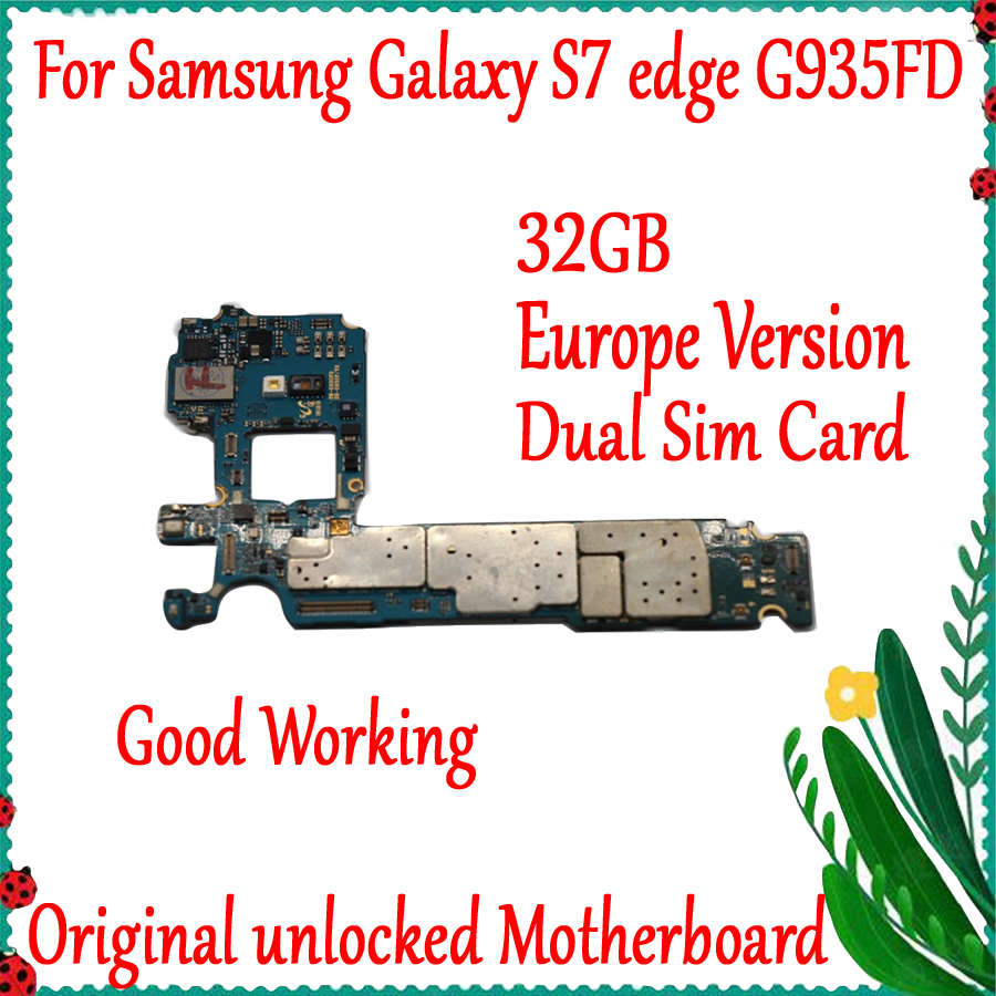 Dual Sim Card Original Unlock For Samsung Galaxy S7 Edge  G935FD Motherboard 32GB with Android System Logic boardDual Sim Card Original Unlock For Samsung Galaxy S7 Edge  G935FD Motherboard 32GB with Android System Logic board