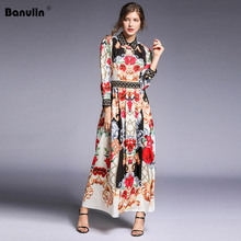 Banulin Fashion Runway Maxi Dress Women 2019 Spring Summer Designer Long Sleeve Geometric Floral Print Boho
