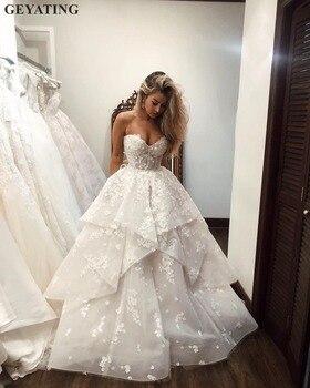 0ee0073c1 Элегантный 3D цветы Флора свадебное платье 2019 с открытыми плечами ...
