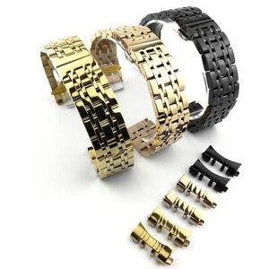 Image 3 - Universal Stainless Steel 7 Beads Watch Strap Watch Band 18mm 19mm 20mm 21mm 22mm 23mm 24mm Watchband for Samsung Galaxy Watch