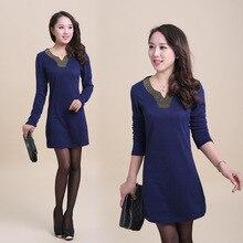 Casual Women V-Neck Dress 2016 Autumn Mini Short Dresses for Women Vestidos Long Sleeve Plus Large Size L-4XL Office Dress