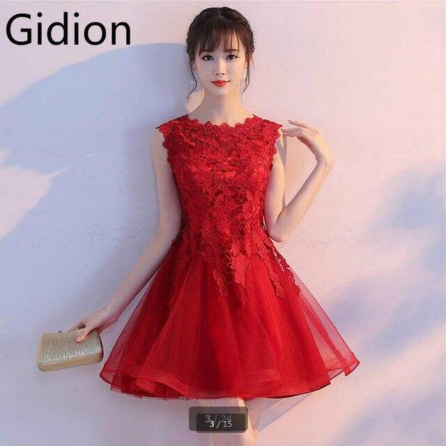 Precioso 2017 de encaje rojo corto mini petite vestidos de fiesta ...