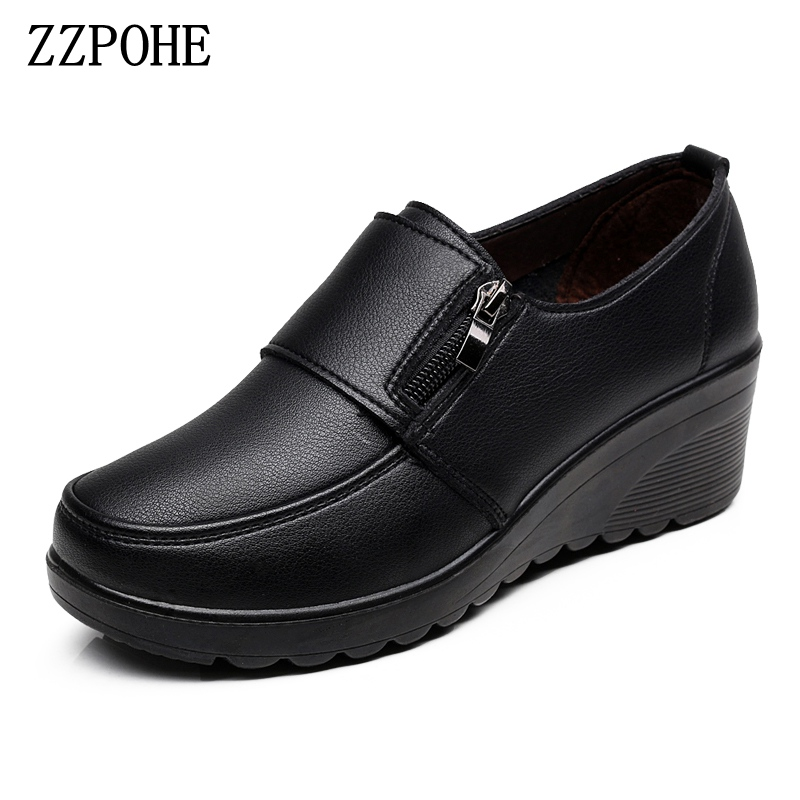 ZZPOHE  Spring Autumn Women's Fashion Pumps Shoes Woman Genuine Leather Wedge Single Casual Shoes Mother High Heels Shoes