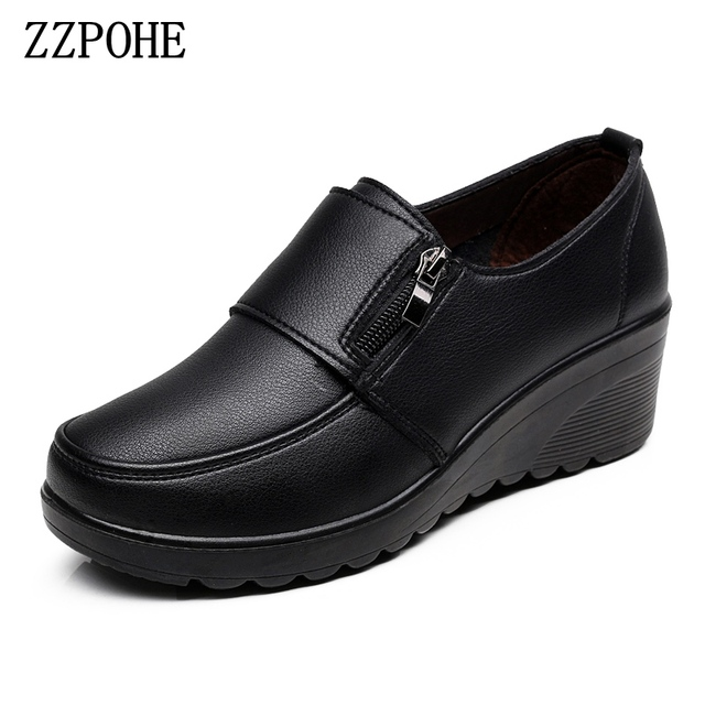 ZZPOHE  Spring Autumn Womens fashion Pumps shoes woman genuine leather wedge single casual shoes mother high heels shoes