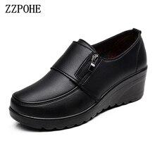 Zzpohe 봄 가을 여성 패션 펌프 신발 여성 정품 가죽 웨지 단일 캐주얼 신발 어머니 하이힐 신발