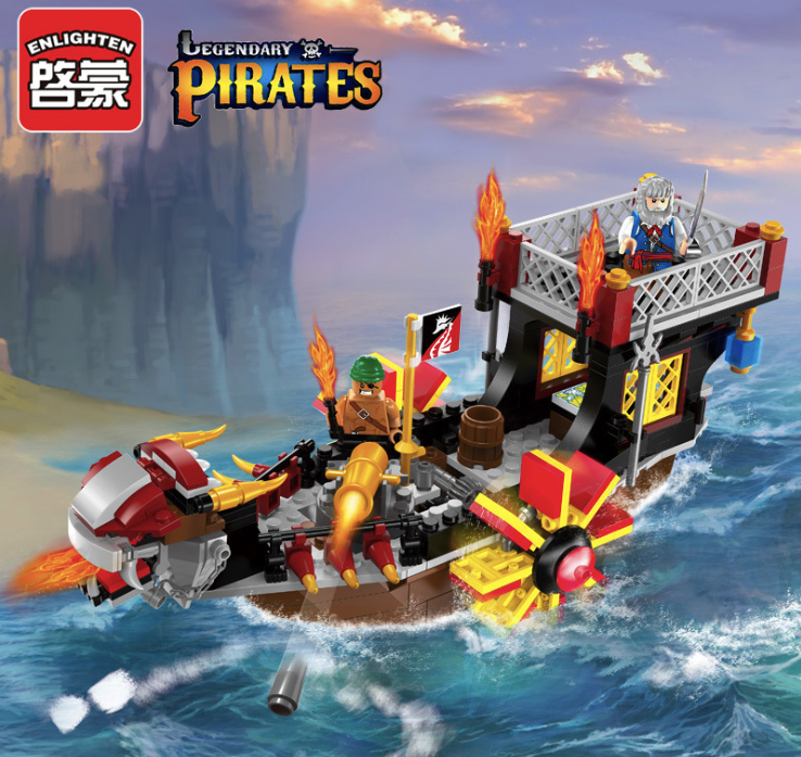 345pcs Building Blocks Pirate Series Ship DIY Children Birthday Present Educational Intelligence Creative Plaything bmbe табурет pirate