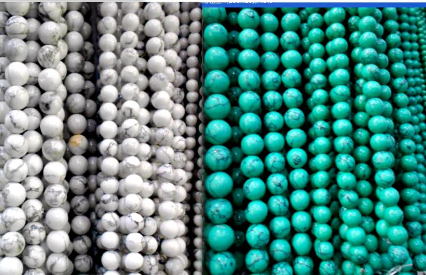 Hot 4MM 6MM 8MM 10MM Natural Dyed White and Sky Blue How lite Stone Beads For Bracelet Necklace DIY Jewelry Making