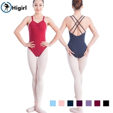 navy blue double strap back crisscross dance leotards cotton girls ballet leotards costumes adult dancwear CS0119