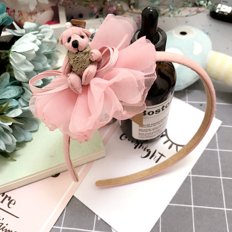 Korea Lace Flower Bear Crown Hair Band Gauze Hair Accessories lovely Embroidery Headband for Girls Hair Band Hair Bow Princess