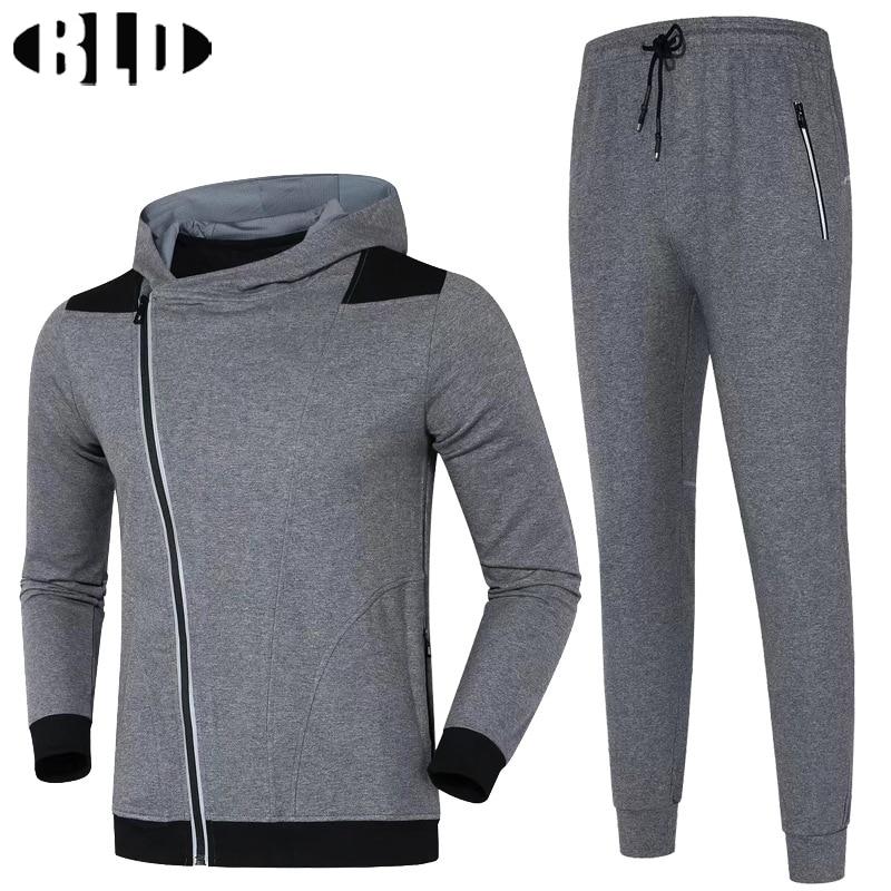 BLD Winer Warm Sport Suit Men Jogging Suits Cardigan Zipper Hooded Running Jacket and Pants Set Sport Clothes Men Gym Tracksuit