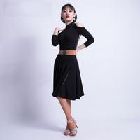 2019 new Women Sexy Modern Ballroom Latin Dance Salsa Rumba Dresses Tango Dance Wear Female black show competition costume