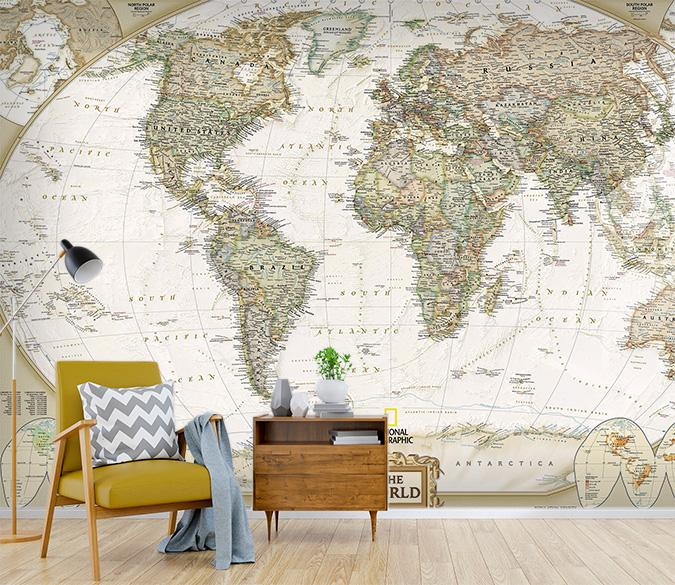 [Self-Adhesive] 3D Global World Map 33 Wall Paper Mural Wall Print Decal Wall Murals
