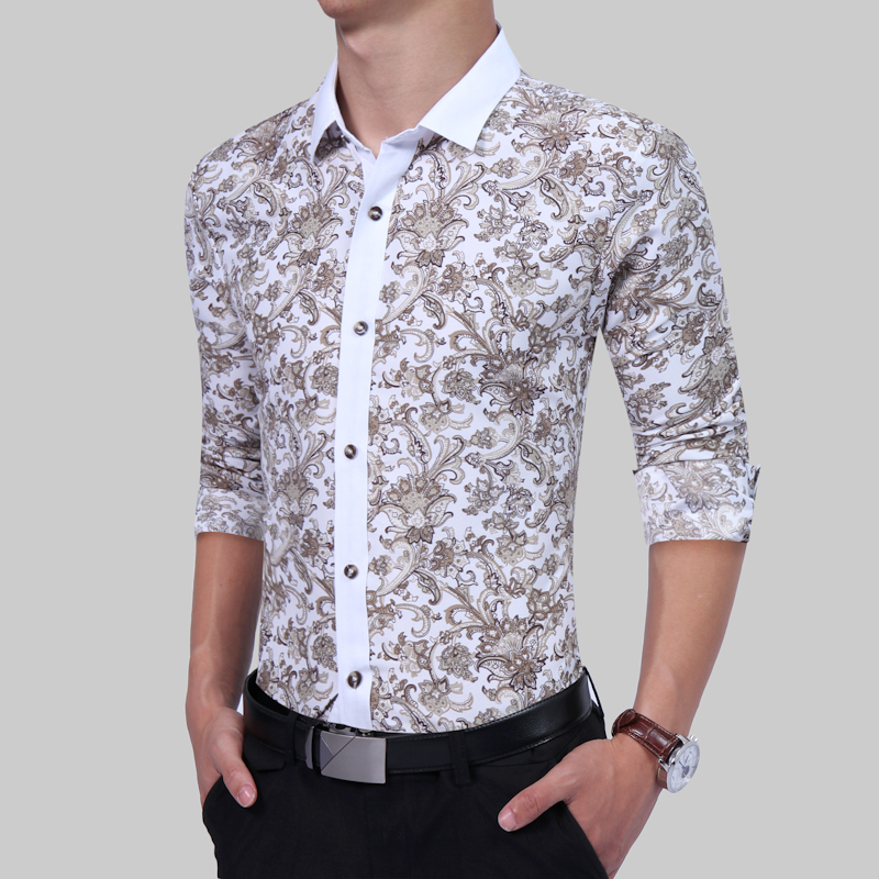 04b13ee684b7 2017 Latest Design Retro Floral Printed Men Casual Shirts Classic Men Dress  Shirt Men's Long Sleeve Brand New Fashion Shirts -in Casual Shirts from  Men's ...