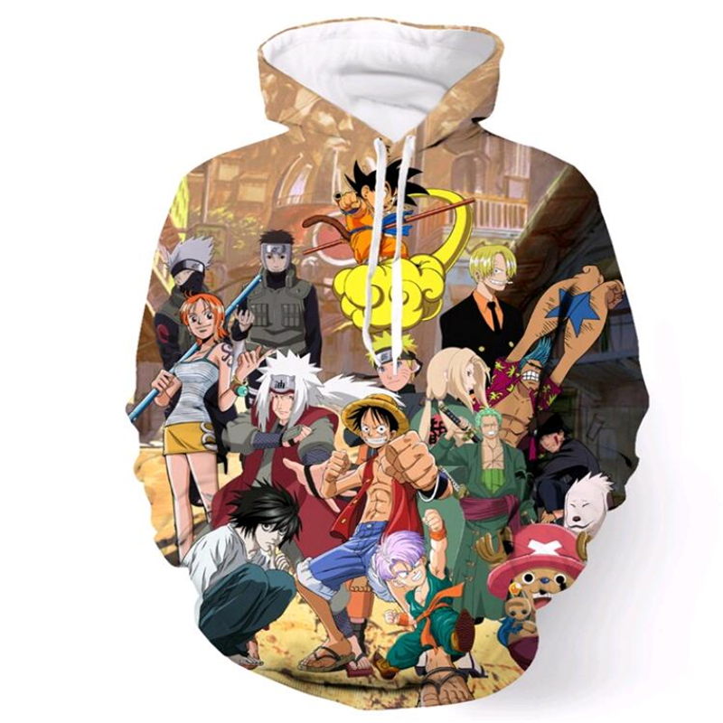 Klasszikus anime férfiak női kapucnis pulóver Márka ruházat One Piece / Dragon Ball Z / Naruto 3D nyomtatás Hoodies Hip Hop pulóverek