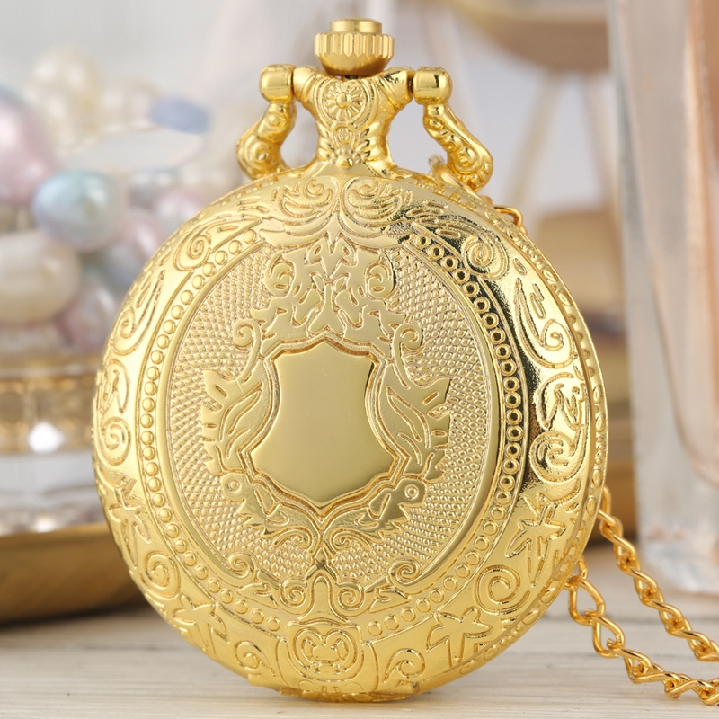 Royal Gold Shield Crown Pattern Quartz Pocket Watch Top Luxury Necklace Pendant Chain Steampunk Clock Collectibles Jewelry Gifts