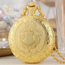 Royal Gold Shield Crown Pattern Quartz Pocket Watch Top Luxury Necklace Pendant Chain Steampunk Clock Collectibles Jewelry Gifts fashion cute girl picture pocket watch with necklace pendant clock chain jewelry gifts lxh