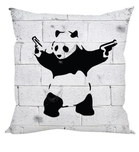 Cool Banksy Store Com Graffiti Armed Panda Cushion Cover