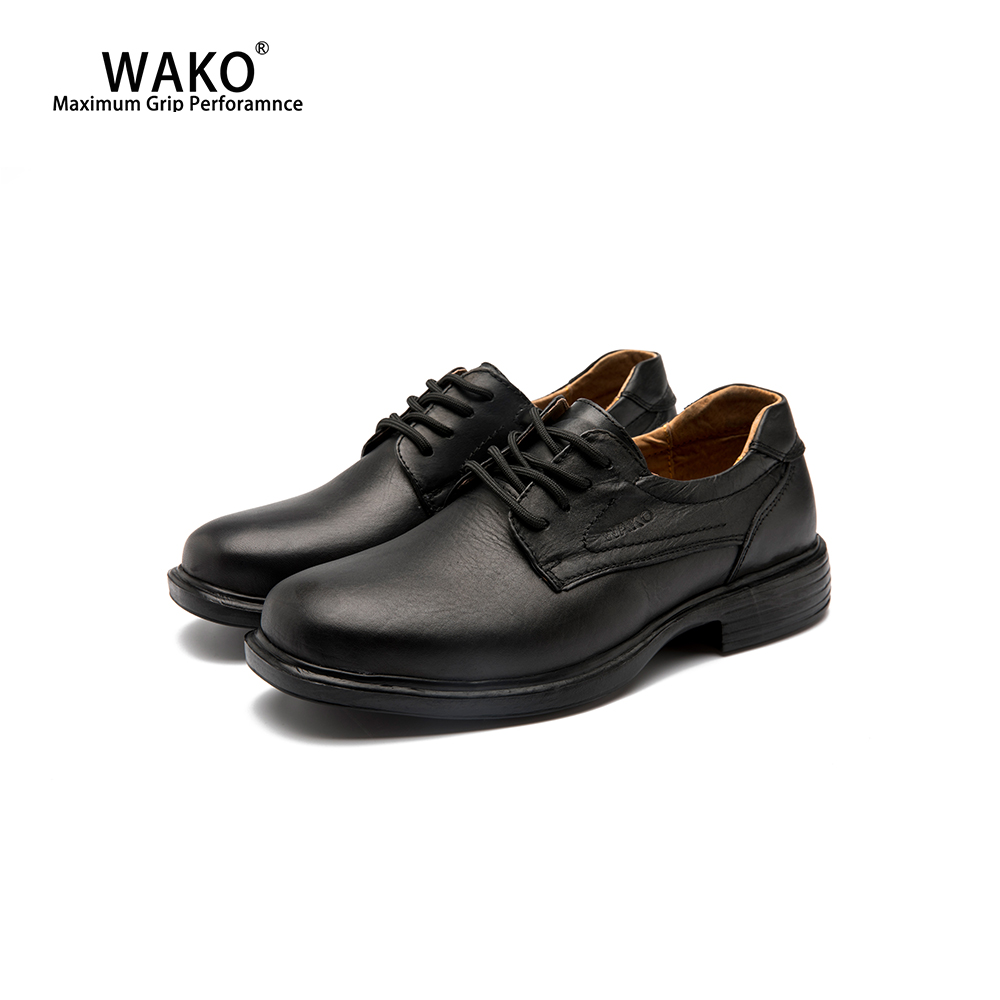 WAKO Leather Chef Shoes For Men Slip On Safety Restaurant Kitchen Work Shoes Breathable Anti-Skid Cook Working Shoes Black 9025