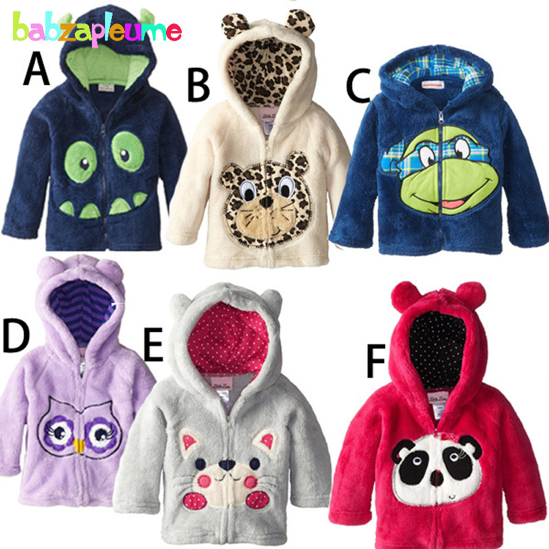 Autumn Winter Children Jackets Cute Cartoon Baby Boy Outerwear Toddler Clothes Cardigan Hooded Sweater Girl Coats 0-5Year BC1180