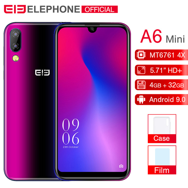 Cargadores de coche Elephone A6 mini 4 GB 32 GB teléfono móvil Android 9,0 de 5,71 pulgadas de agua pantalla MT6761 Quad Core HD + 16MP 3180 mah Smartphone 4G