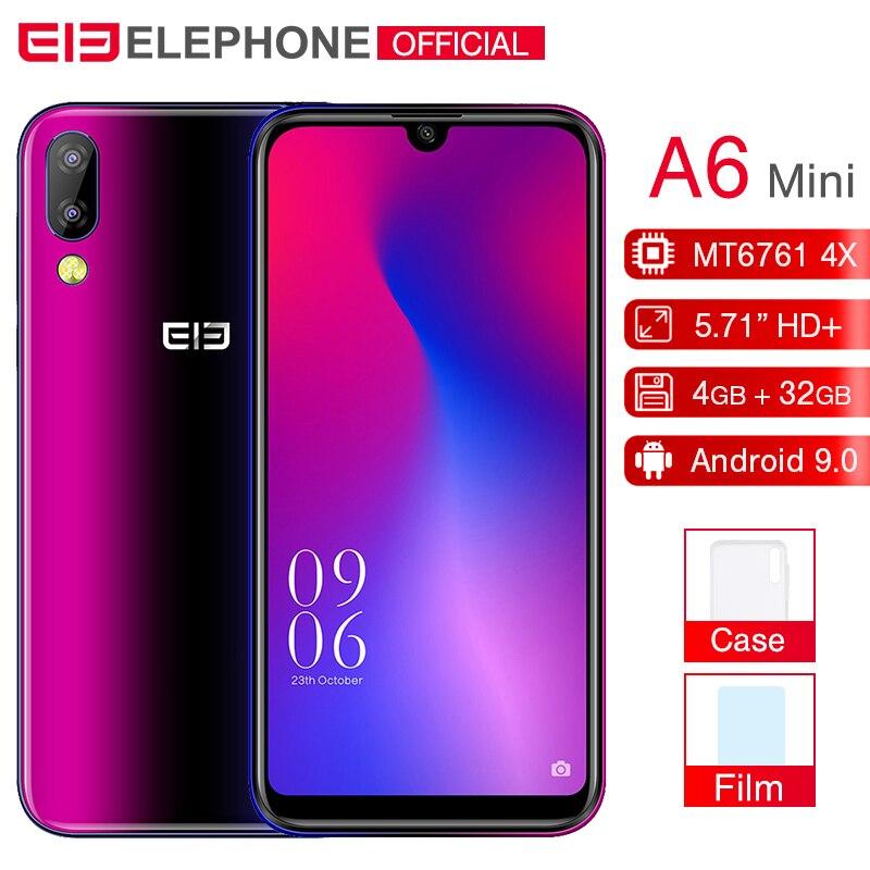 Elephone A6 mini, 4 Гб, 32 ГБ, мобильный телефон, Android 9,0, 5,71 дюймов, экран капли воды, MT6761, четыре ядра, HD + 16 МП, 3180 мАч, 4G смартфон