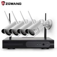 ZGWANG Plug And Play 4CH Wireless NVR Kit P2P 720P HD Outdoor IR IP Video Security