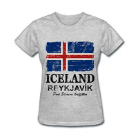 2018 Various Colors Funny Cotton Iceland Flag1 Funny T Shirt Women