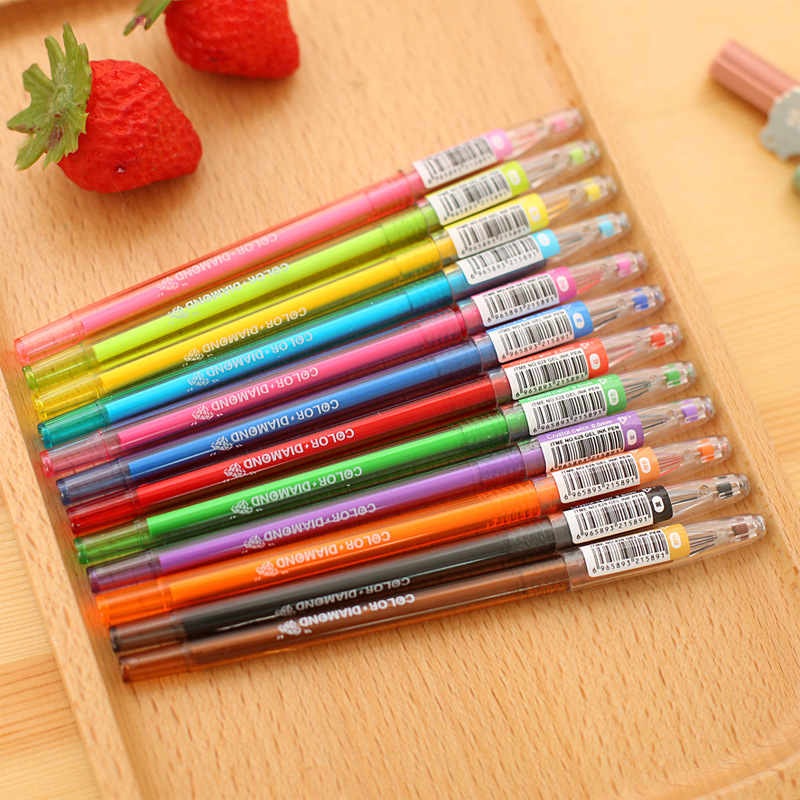 ộộ 12 Unidslote Color Diamante Cabeza Gel Pen Set Color Caramelo