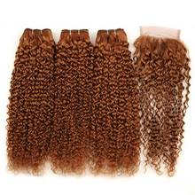 3 Bundles With Closure Brazilian Hair Weave Bundles