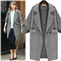 New 2016 Autumn Winter Outerwear Women Coat Slim Double-Breasted Long-Sleeved Coats Ladies Solid Linen Long Trench Coat