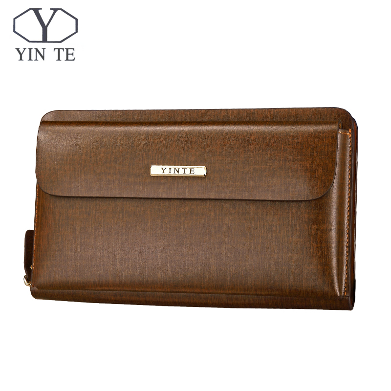 YINTE Men Clutch Wallets Long Zipper Male Wallet Leather Wallet Men Purses Wallet Male Clutch Handy Bag Portfolio C10341 Brown guess confidential chain slim wallet clutch brown