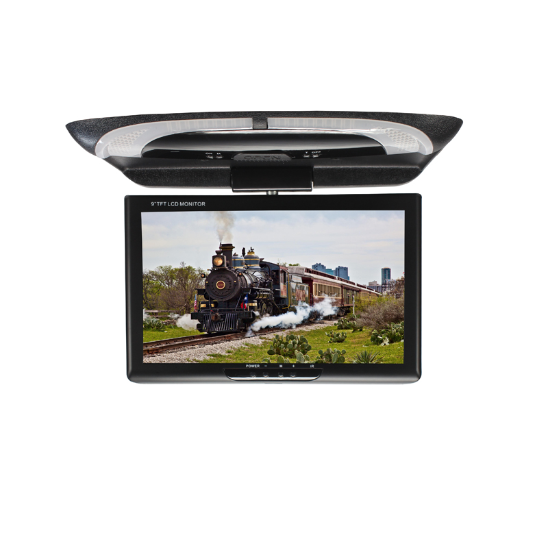 Universal 9 inch TFT LCD high resolution Roof Mounted Monitor 2-way video input Flip Down Monitor DC8-36V Car flip down monitor