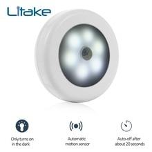 Litake Infrared PIR Motion Sensor 6 Led Night Light Wireless Detector Wall
