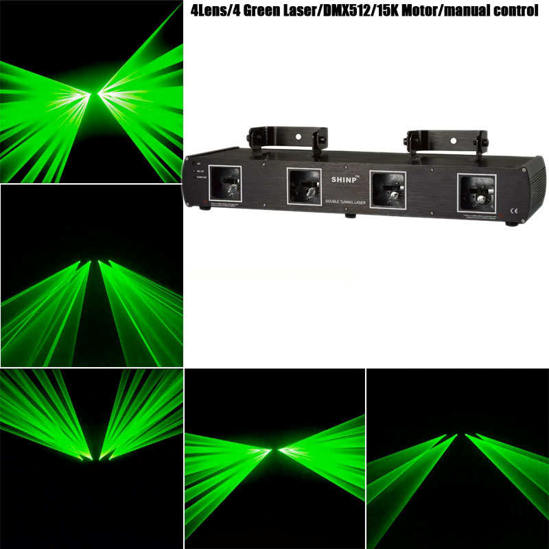 Nowy 4 Obiektyw Zielony Promień Lasera Linii Scanner Dmx