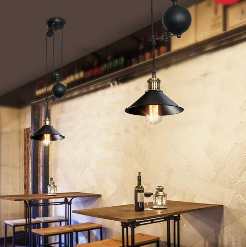 Бесплатная доставка Железный шкив Ретро Эдисон лампочки люстра Винтаж чердак античный регулируемый DIY E27 декоративный потолочный подвесной светильник