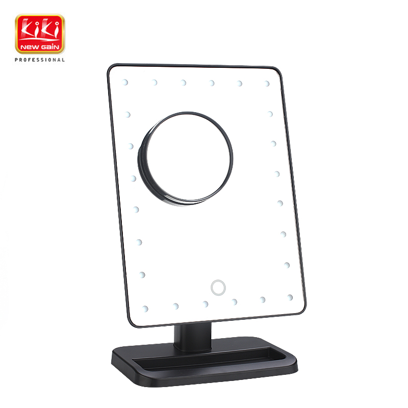 KIKI NEWGAIN cosmetic mirror with 24 LED lights and 1 magnifier for personal use or makeup or gift adjustale brightness mg16129 c multifunctional magnifier with 5 led lights for repairing