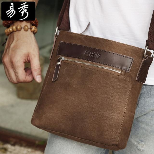 17939a5b0e Eshow Men Brown Canvas Small Messenger Bag Crossbody Bag Shoulder Bag  vintage men bags BFK010741