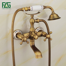Free Shipping Antique Bathtub Faucet, Brass Hot and Cold Bath Faucet, Antique Bathroom Faucets Shower Set все цены