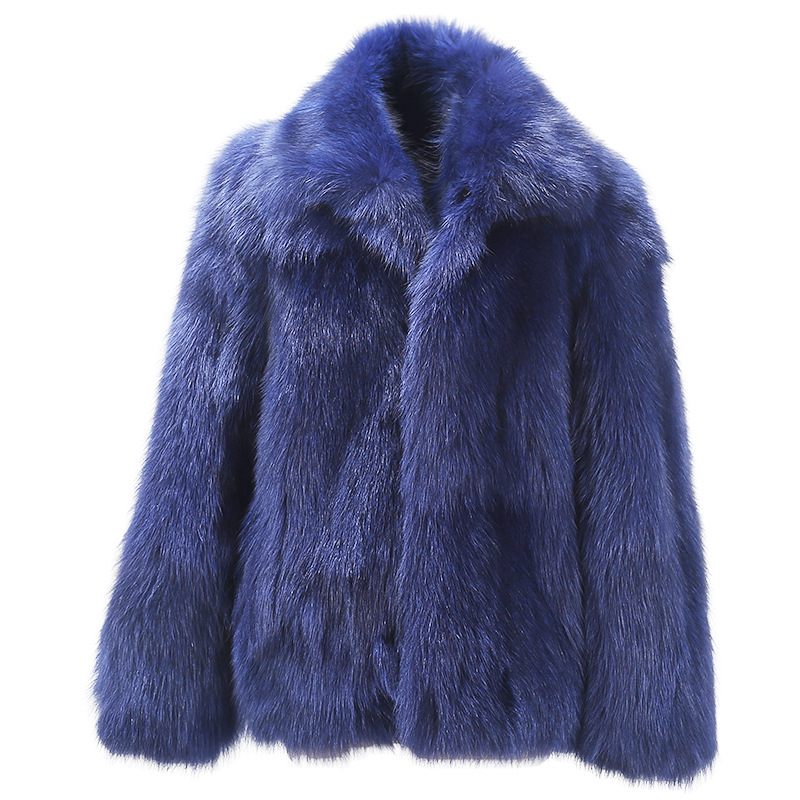 2018 New Mens jacket Coat Fur one Mens Fur Short Paragraph Imitation Fox Fur Imitation Fur Dark Blue coat Size S M L-4XL 5XL