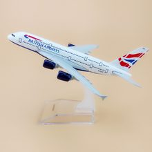 Alloy Metal Air British Airways A380 Airlines Airplane Model Airbus 380 Plane Model Stand Aircraft Kids Gifts 16cm(China)