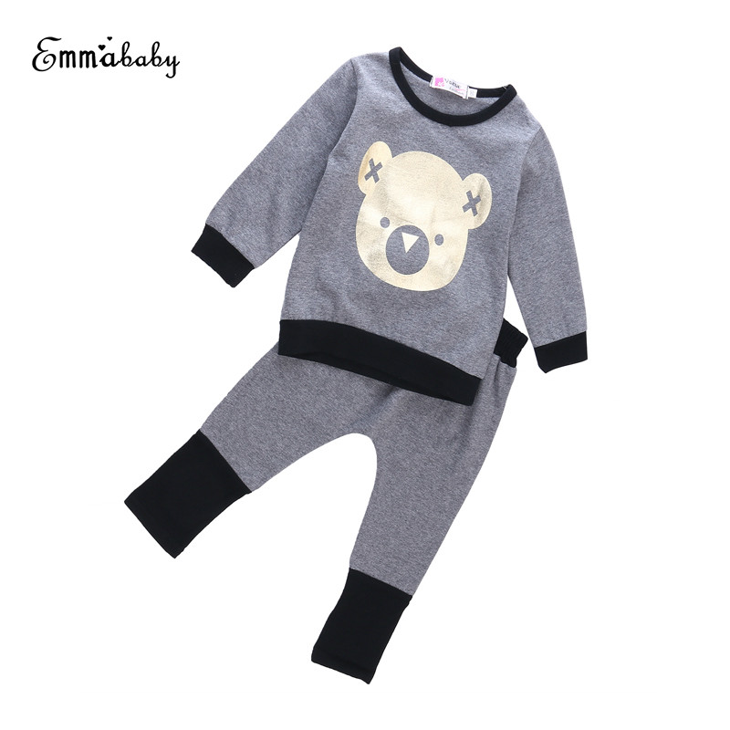2017 Newborn Autumn Cute Lovely Causal Toddler Baby Boy Girl Warm Long Sleeve O-Neck T-shirt+Pant Clothes 2PCS Outfit Set 1-4Y