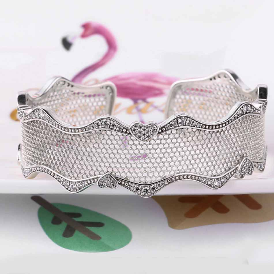 New 925 Sterling Silver Bangle Openwork Lace Of Love Open Bracelets Bangle Fit Women Bead Charm Fine DIY JewelryNew 925 Sterling Silver Bangle Openwork Lace Of Love Open Bracelets Bangle Fit Women Bead Charm Fine DIY Jewelry