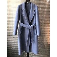 Двусторонний пальто Для женщин 2018 осень и зима новый двусторонний Пальто двубортное шерстяное пальто