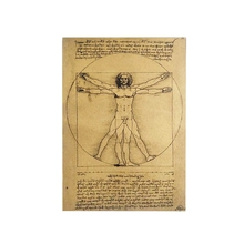 Vintage Style Manuscripts Vitruvian Man Vintage Kraft Paper Movie Poster Home Decor Wall Decals Art Magazines Retro Painting