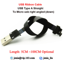5CM To 100CM Slim Mini USB cable Ultra Super Standard Straight type A to male Micro Down angled ideal for Tablet PC Camcorder