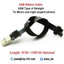 Mini câble USB mince de 5 à 100CM, Ultra Standard, droit de type A vers mâle, Micro coudée en bas, idéal pour tablette et PC