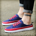 2016 Student summer lace up breathable canvas shoes men's sewing shoes a pedal lazy flat shoes without heel sandals slippers