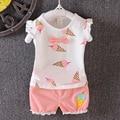 Тепло! летом 2016 девушка новорожденный одежды костюм Девушки спортивной костюм 100% хлопок Футболку + брюки Бесплатная доставка 2 компл.
